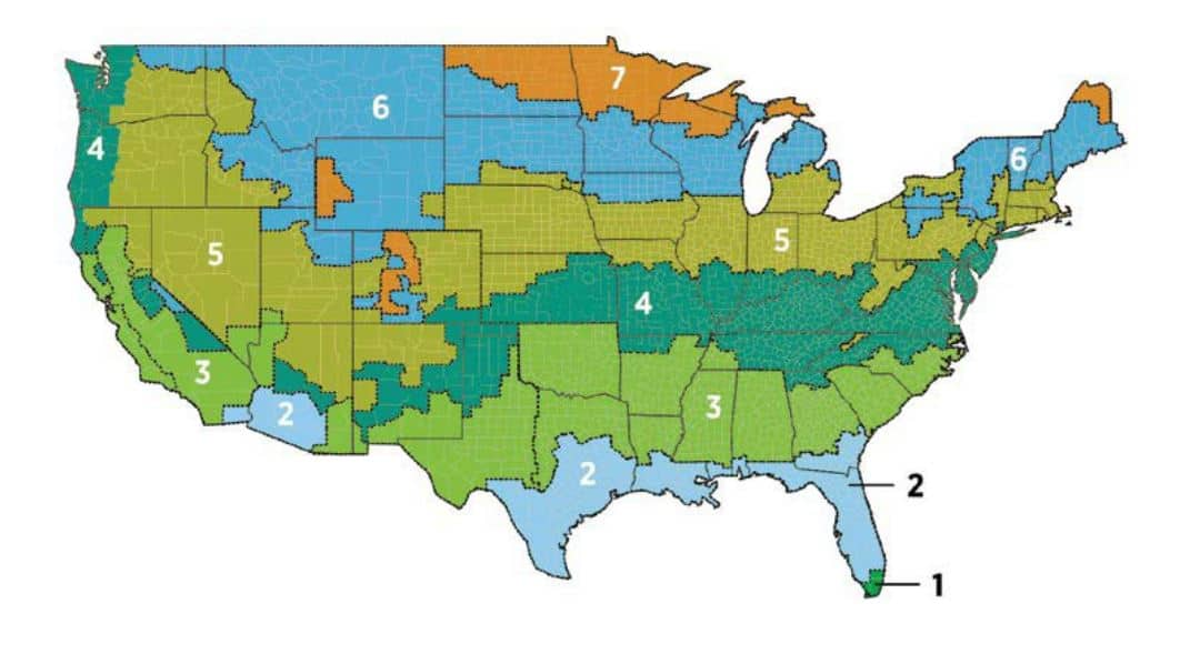 Climate zones in the US