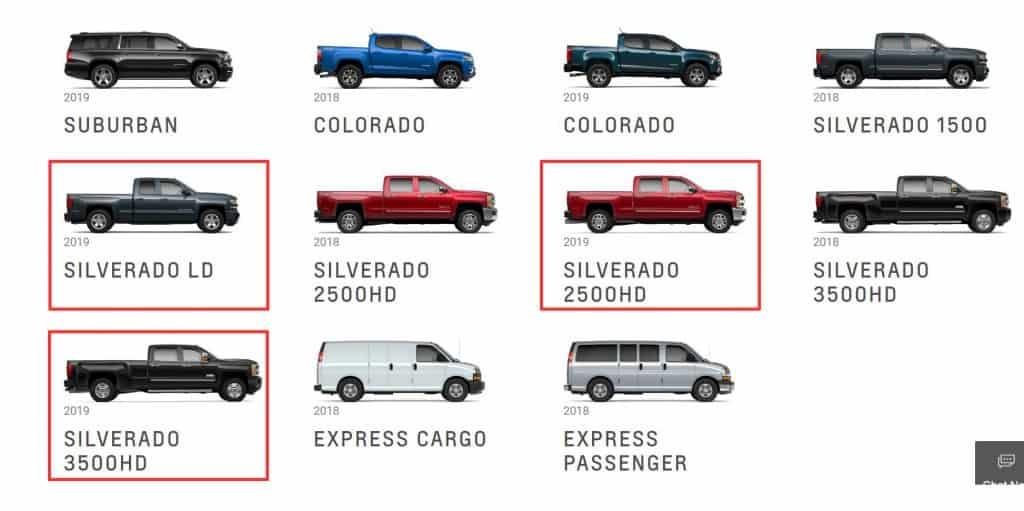 Silverado models