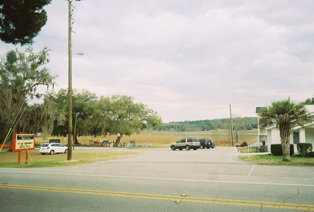 Parking lot of a church in  Hernando County Road Lake Lindsey, Florida