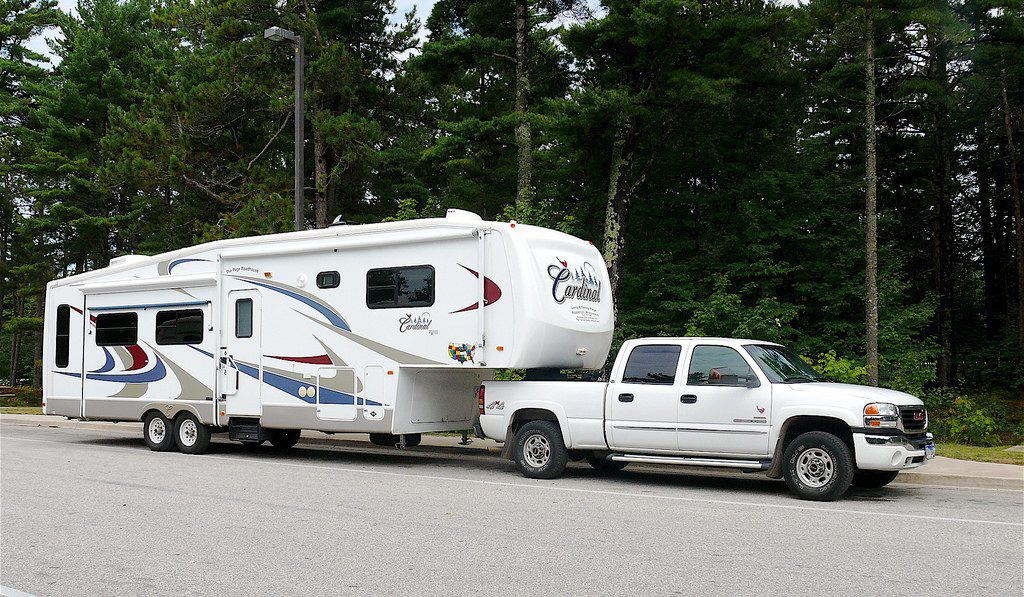 A fifth-wheel on the road