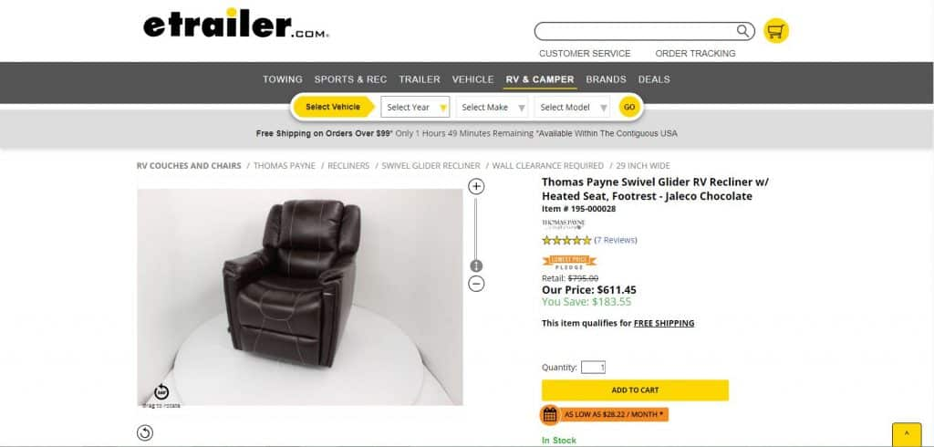 Glider RV Recliner with Chocolate Color