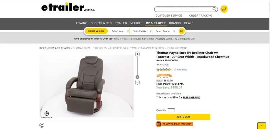 RV Recliner Chair with Footrest
