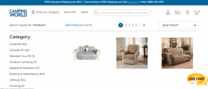 Camping World website product page for furniture